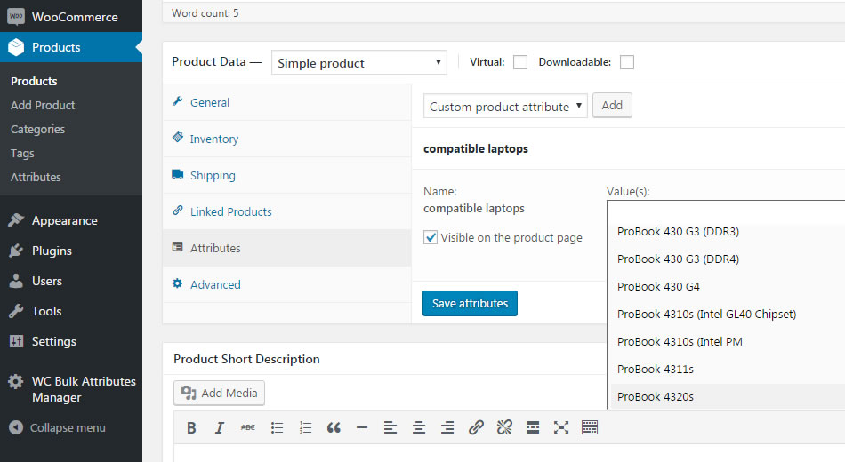 bulk added attributes available on product edit page
